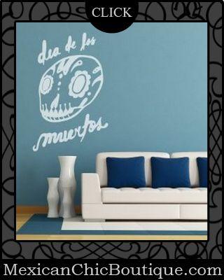 Mexican Decorations | Mexican Decor | Home Decor | Home Decor | Mexican Art | Mexican Folk Art | Home Decorating Accessories | Shop Now ♥ Vinyl Wall Decal Sticker Dia De Los Muertos $34.95