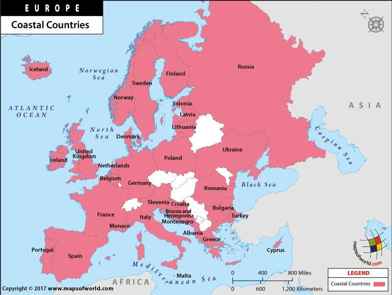 Map of Coastal Countries of Europe List of European Countries