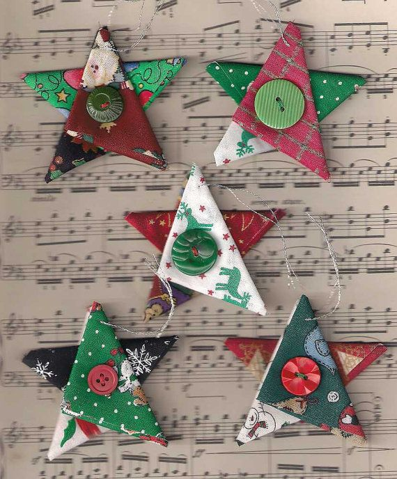 Star Christmas Ornaments Fabric Star Country Cottage Christmas