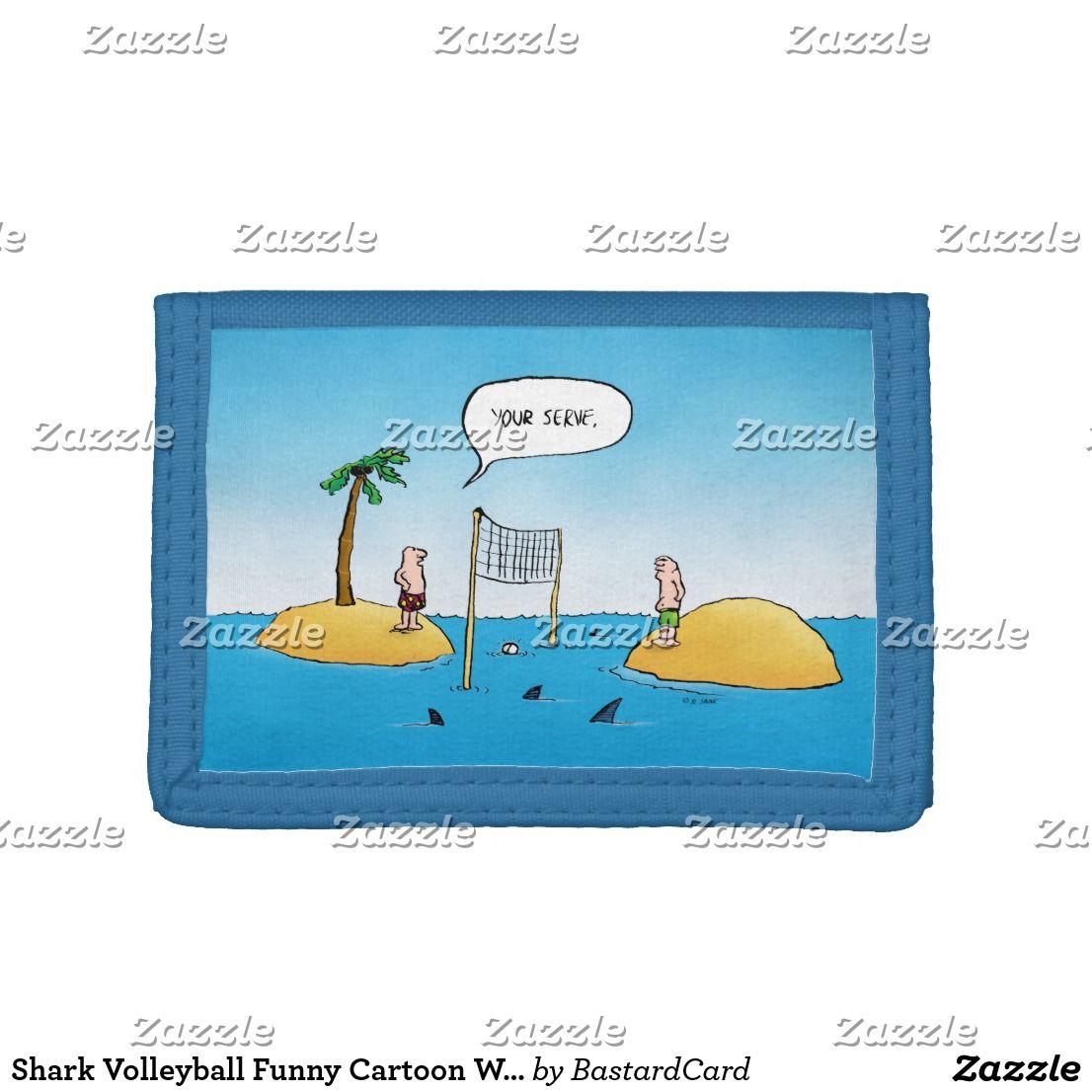 Shark Volleyball Funny Cartoon Wallet Zazzle Com With Images Funny Cartoon Volleyball Humor Funny