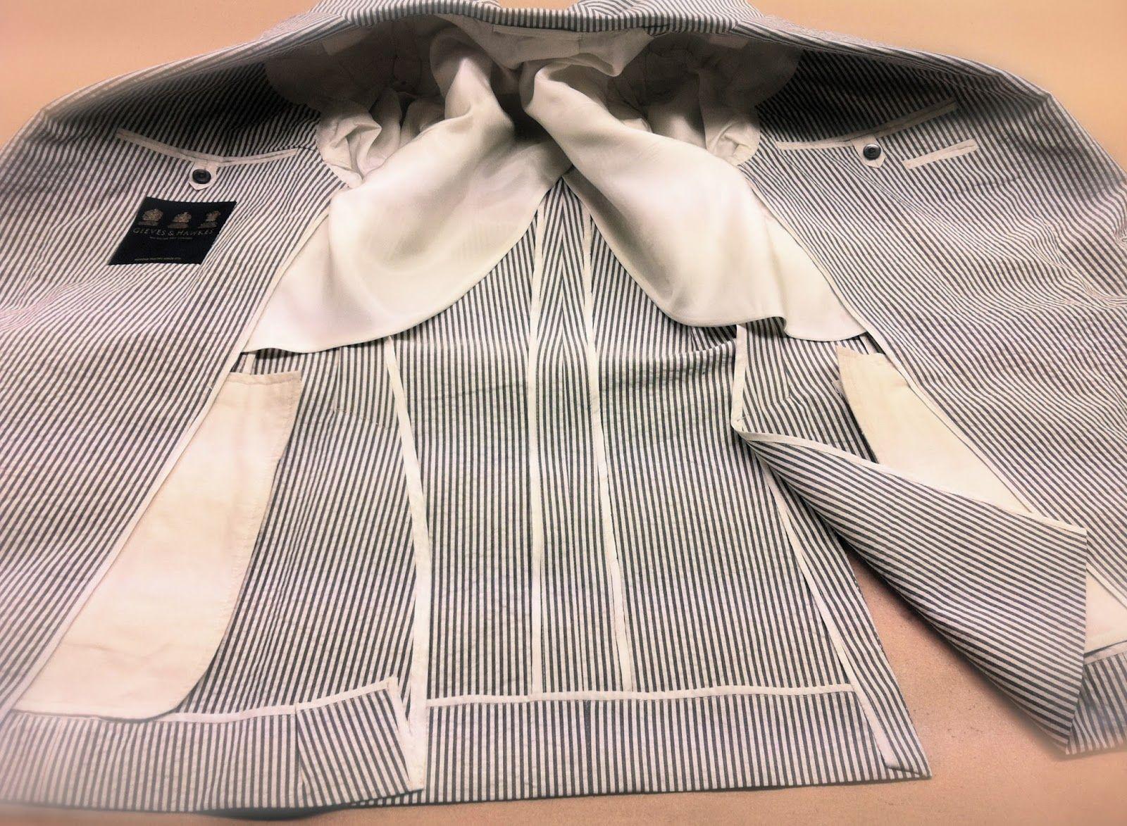 DAVIDE TAUB: G&H Bespoke: Semi-Lined, Grey/Off-White Bengal Str...
