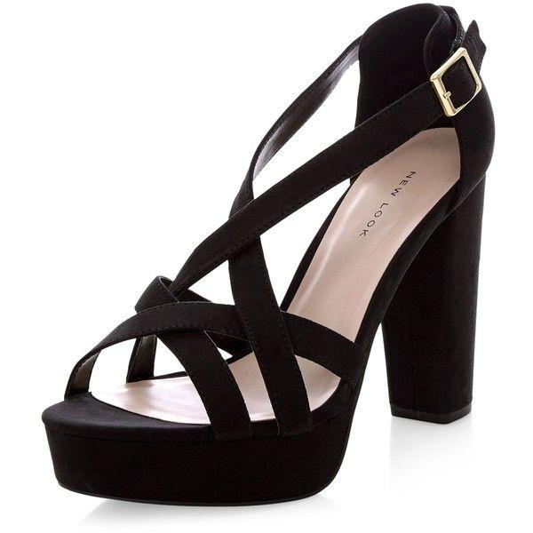 Black Suedette Strappy Platform Heels