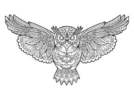 Owl Coloring Book For Adults Vector Stock Illustration