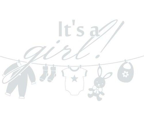 Its A Girl!, Laundry Wall Sticker East Urban Home Size: 100 cm H x 177 cm W, Colour: Light grey