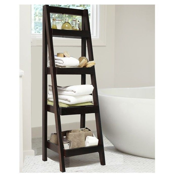 Jenlea Bombay Walnut Storage Ladder Furniture Shelves Self Standing Home Decor