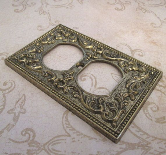 outlet cover plate 1960s vintage metal switchplate electrical outlet cover decorative switch plate outlet plate ornate switch plate - Decorative Outlet Covers