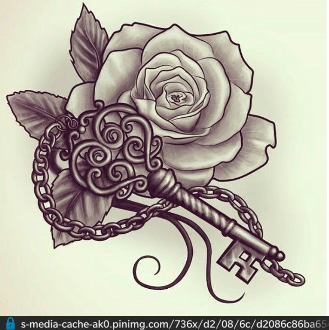 Vintage Key And Rose Chest Tattoos For Women Rose Tattoo Design Key Tattoo Designs
