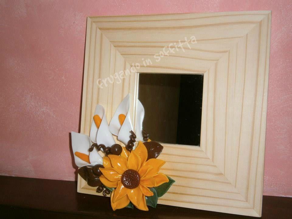 specchio  deorato con fiori in pasta gabrylea