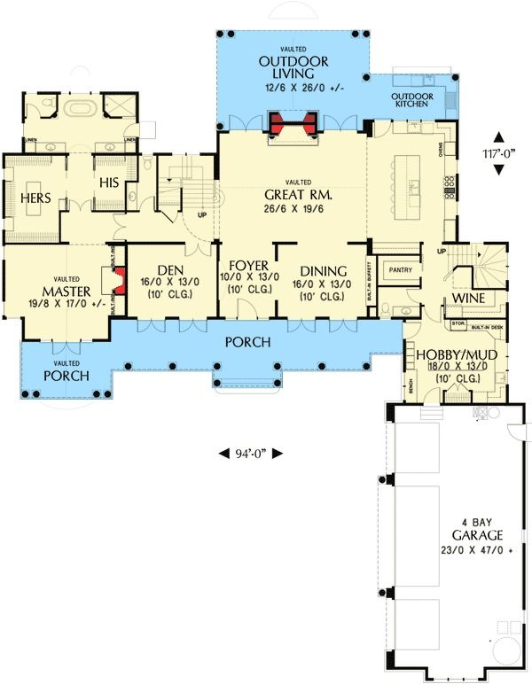 Plan 69580am Northwest Home With Hobby Room And Wine Cellar Floor Plans Hobby Room House Floor Plans