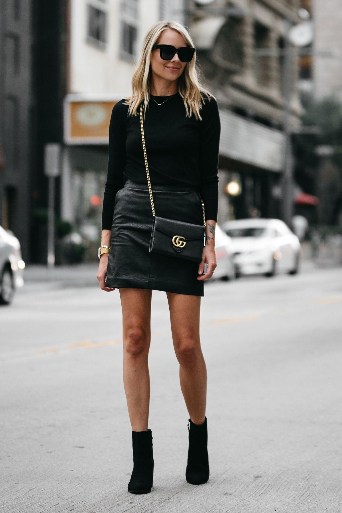 Blonde Woman Wearing Club Monaco Black Sweater Topshop Black Leather Mini  Skirt Outfit Gucci Marmont Handbag Stuart Weitzman Black Booties Fashion  Jackson ... 6e5928e79