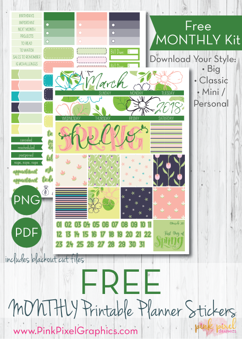 In Bloom Monthly Free Planner Stickers Print And Cut Printables