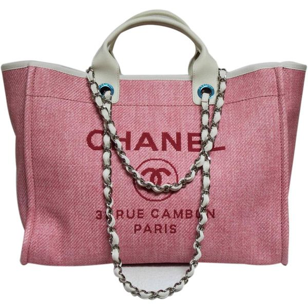 aa0837a86384 Pre-Owned Chanel Pink Rue Cambon Canvas & Leather Large 30cm Shopping...  (4,810 CAD) ❤ liked on Polyvore featuring bags, handbags, tote bags,  bolsas, ...