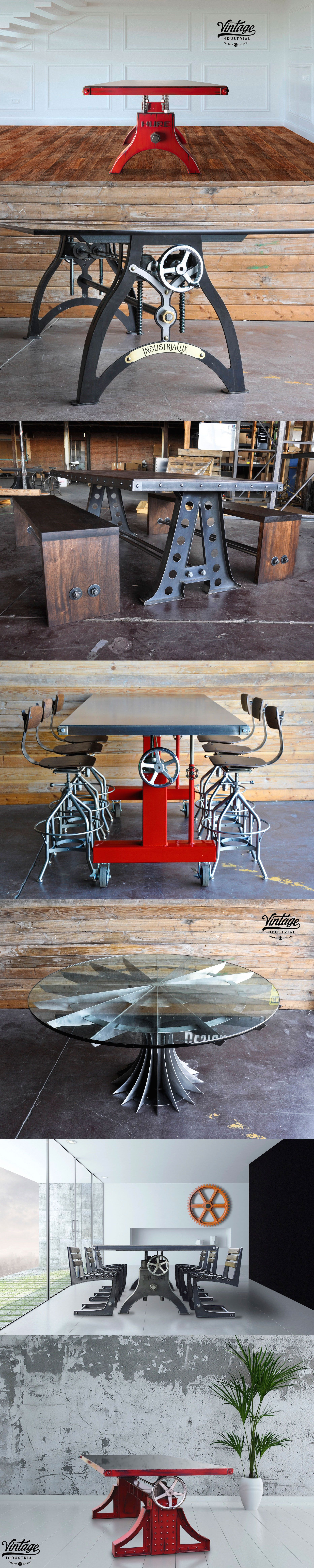 Hure conference table with faux crank vintage industrial furniture - Digital Hure Industrial Dining Tablesvintage