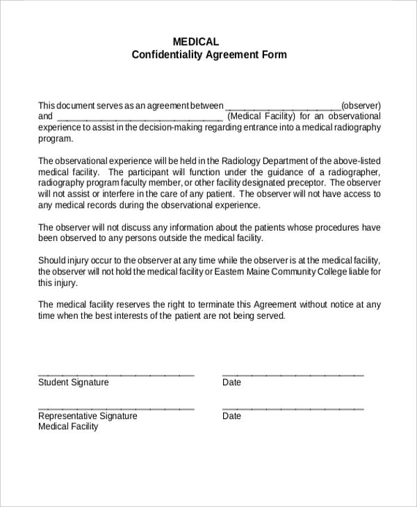 Confidentiality Agreements Form Printable Sample Partnership
