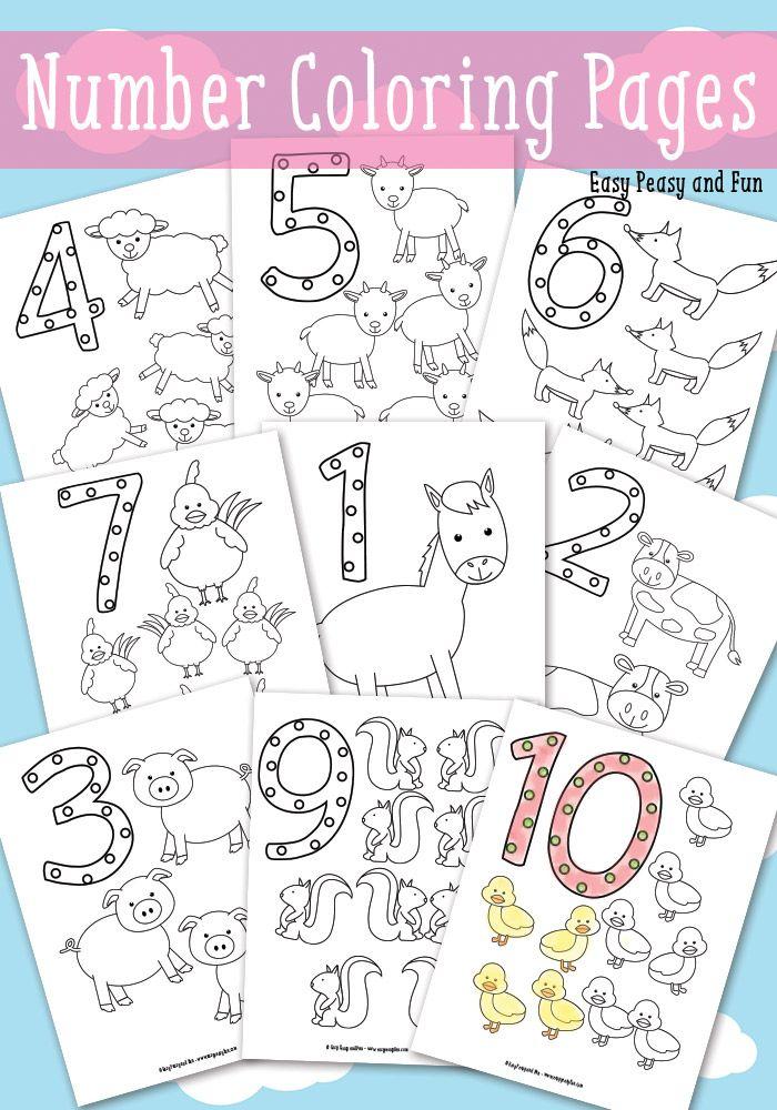 Animals Number Coloring Pages | Números, Colorear y Hoja