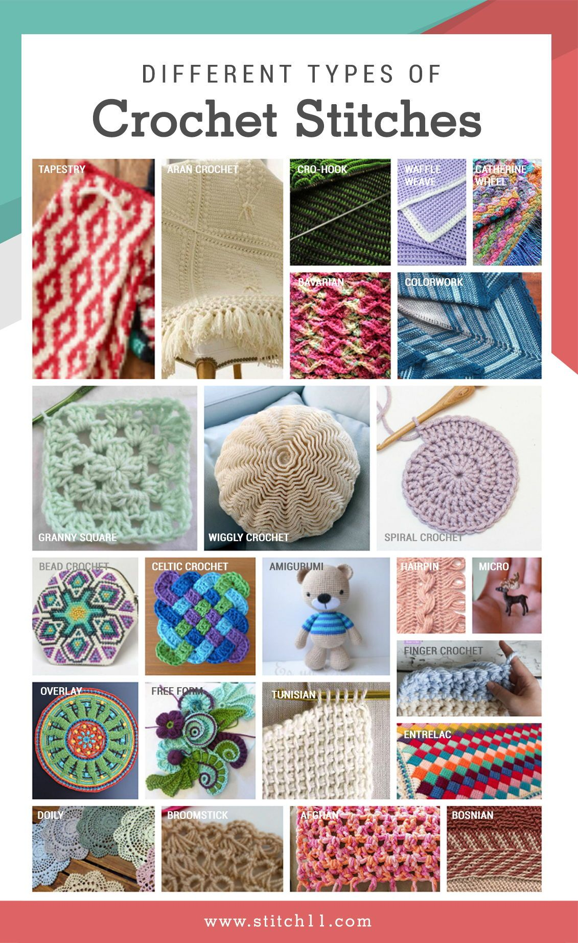 Different Types Of Crochet Stitches Infographic Stitch 11com Is