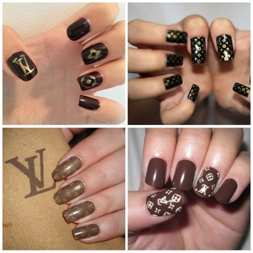 Pin By Robin Westerman On Louis Vuitton Obsession Bling Nail Art Black Gold Nails Gold Nail Designs