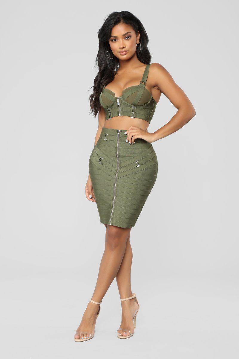 bb0c95c4d Belt Your Heart Out Skirt Set - Olive | Fashion Nova favs in 2019 ...