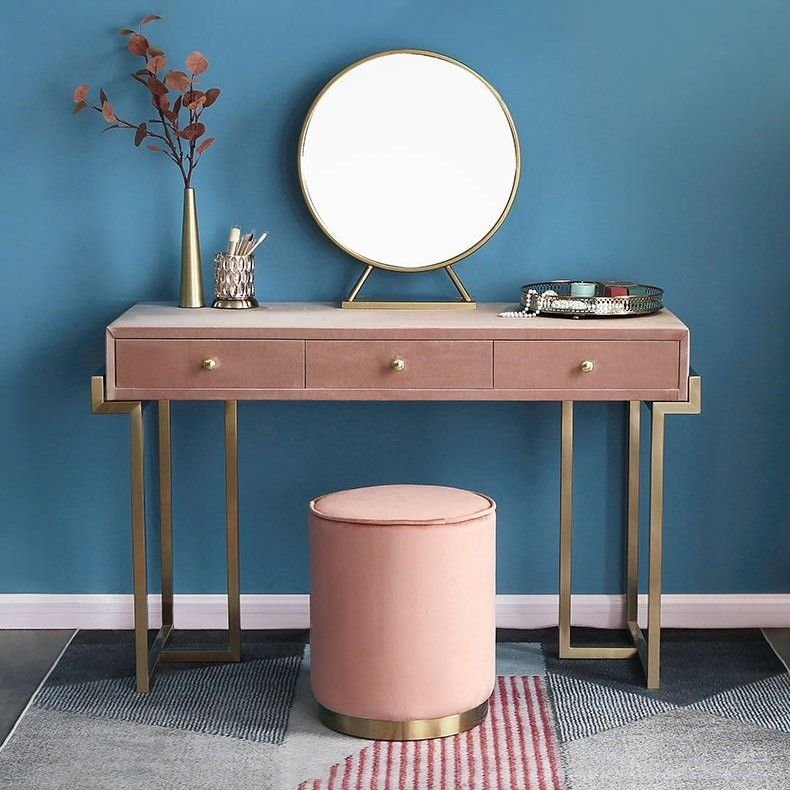 Gold Makeup Vanity With Drawers Pink Green Velvet Upholstered Makeup Vanity Table With Mirror Dressing Table With Stool Small Large Dressing Table With Stool Makeup Vanity With Drawers Makeup Table Vanity