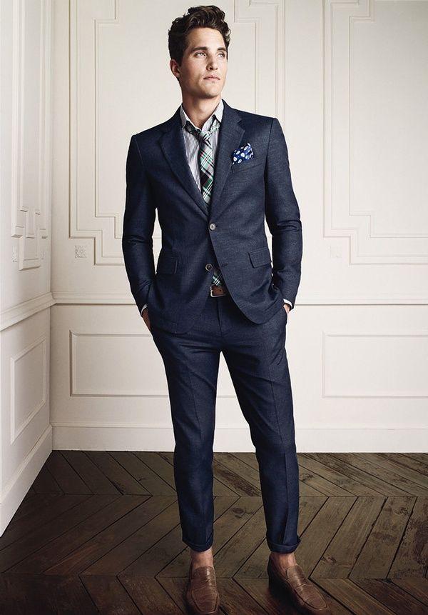 Fabulous blue suit. Brown shoes belt to compliment.