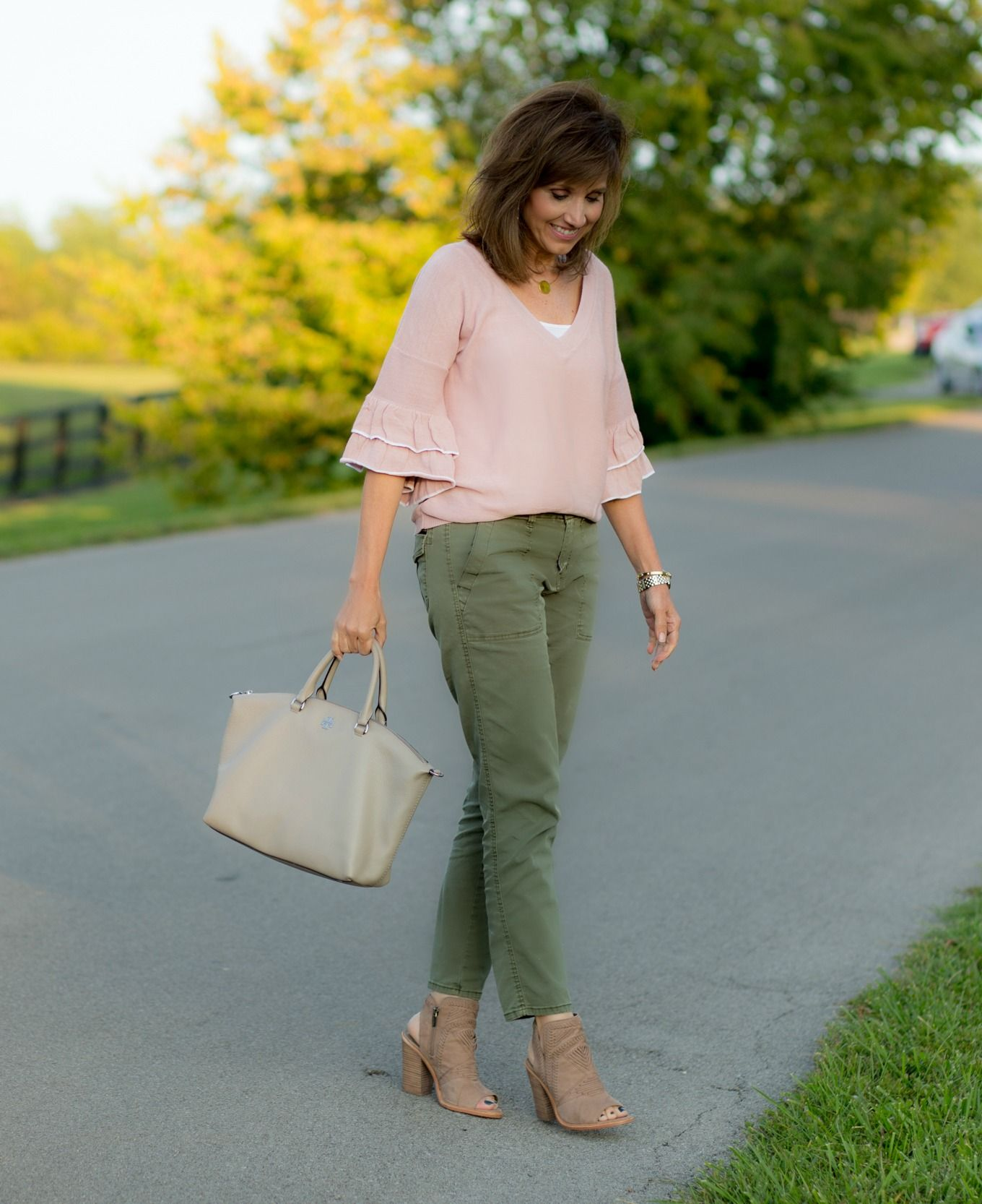 Pink Ruffle Sweater   Olive Pants | Olive pants, Ruffles and Fall ...