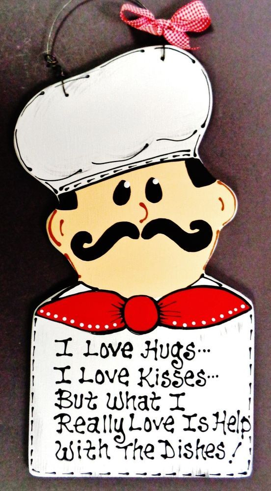 FAT CHEF I Love Hugs/Kisses/Dishes SIGN Plaque Bistro Cucina Wall ...