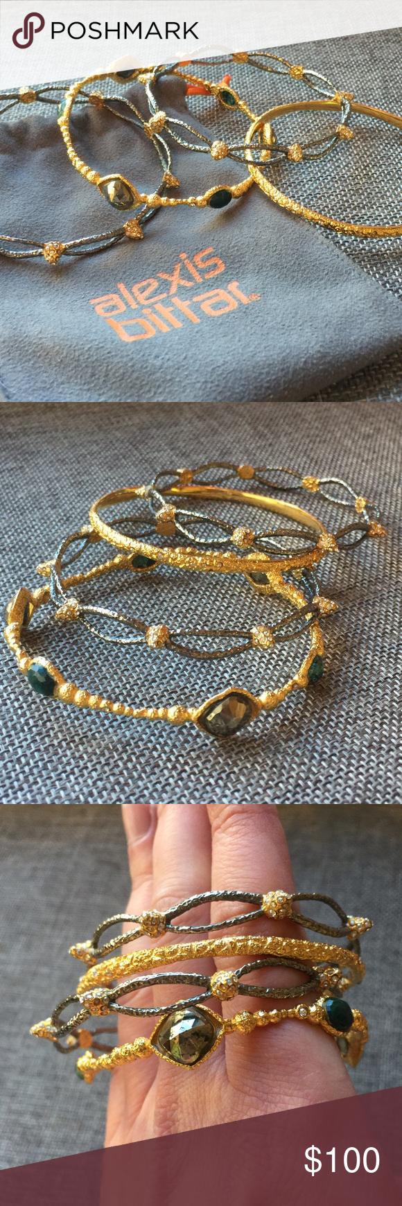 Alexis Bittar Gold/Silver Gem Bangle Bracelets Alexis Bittar Gold/Silver Gem Bangle Bracelets. Set of 4. Alexis Bittar Jewelry Bracelets