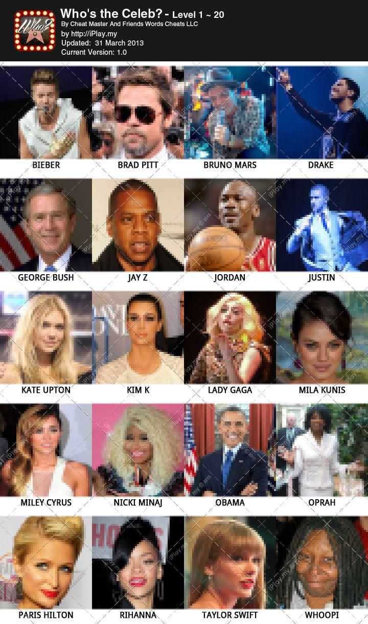 Celebrities Level 3 - Crossword Quiz Net