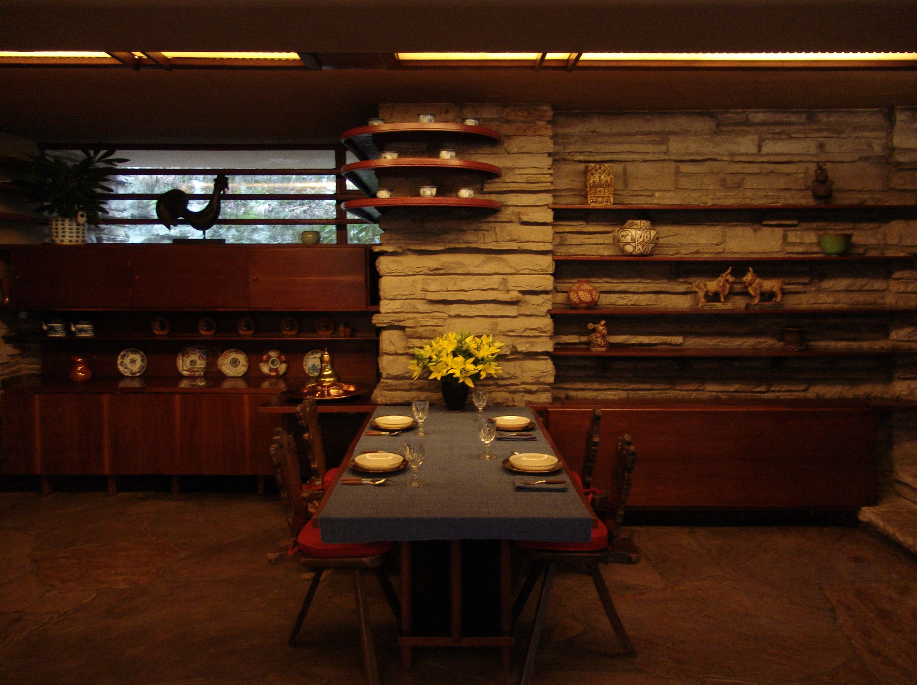 frank lloyd wright's falling waters house images interior | file