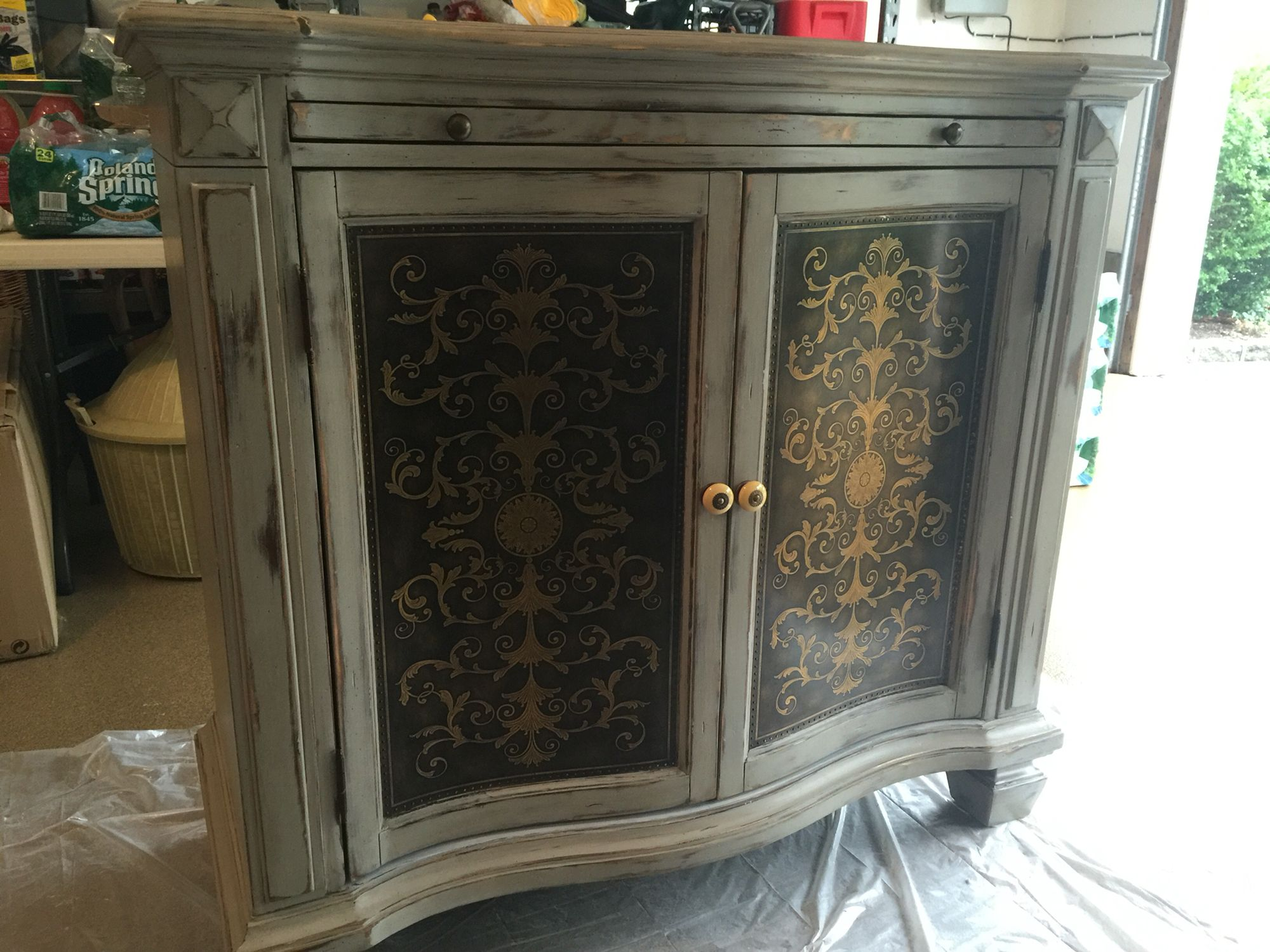 Rustoleum chalk paint aged gray with Minwax provincial stain wiped