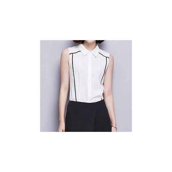 Stripe Pintuck Sleeveless Shirt (£26) ❤ liked on Polyvore featuring tops, shirts, women, stripe top, white top, white striped shirt, polyester shirt and white stripes shirt