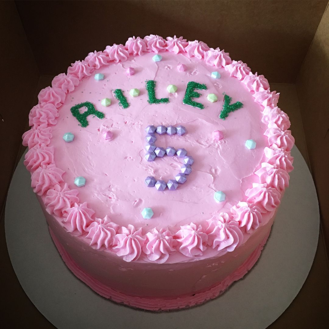 Chocolate Cake With Pink Vanilla Buttercream Frosting 5 Year Old
