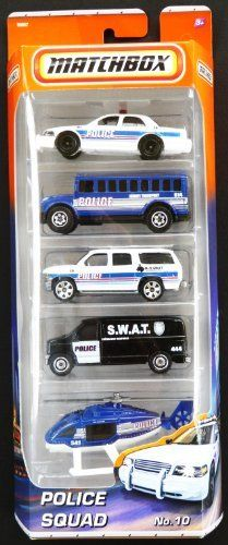 By Police Mattel24 Car 99Mis 5 Pack Squad Matchbox No10 29IeDEWHY