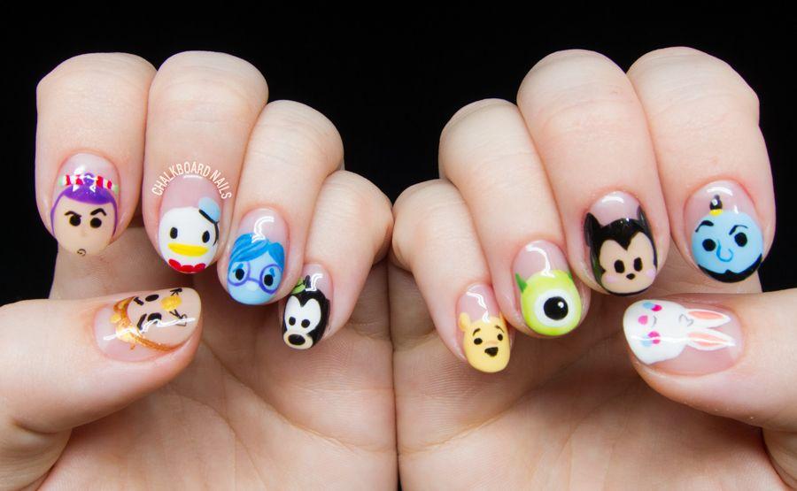 Disney Tsum Tsum Character Nail Art Nail Art Disney Kids Nail Designs Disneyland Nails