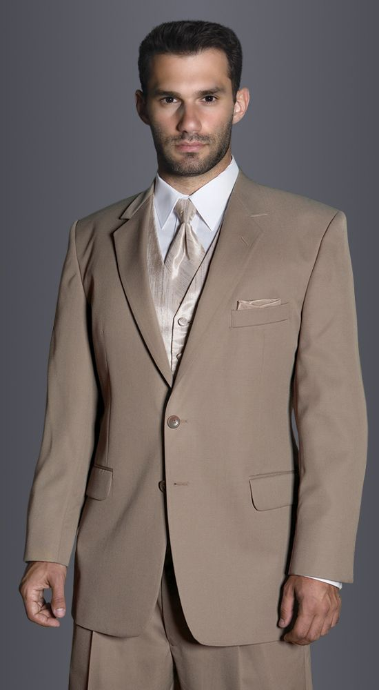 Tan Catalina Suit by Savvi Evening Collection, Fit: Modern, Fabric: Super 100s Wool, Lapel: Notch, Buttons: 2, Sizes available: Boys' 3 - Men's 64R