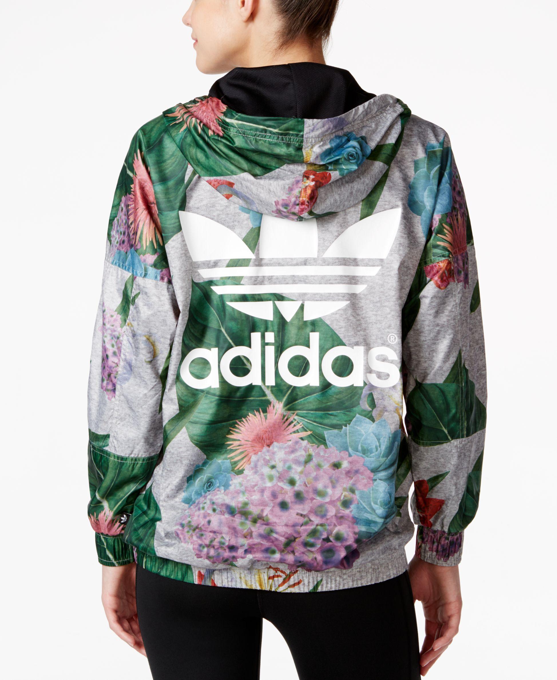01ea7076ab8216 adidas Originals Floral-Print Half-Zip Windbreaker