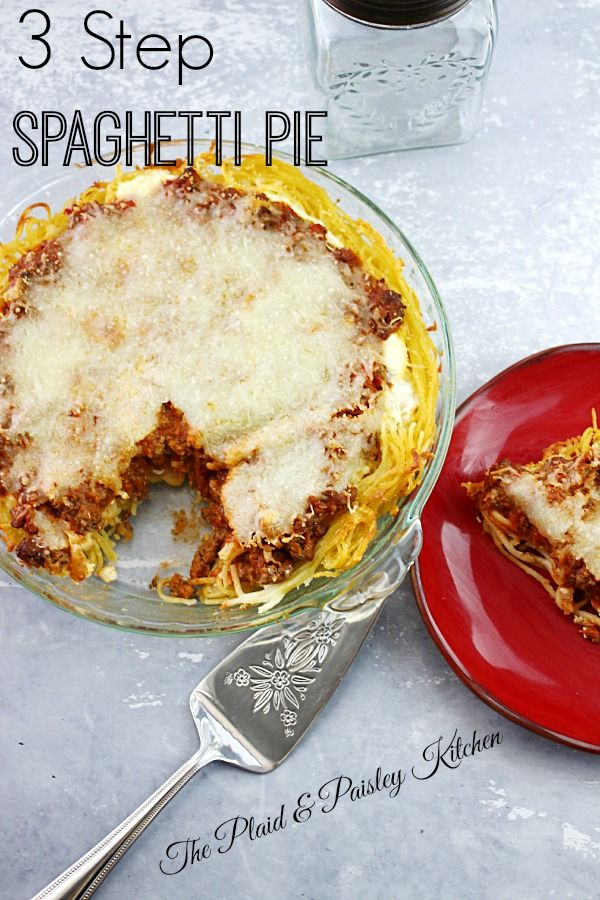 3 Step Spaghetti Pie The Plaid Paisley Kitchen So Easy And Perfectly Delicious This Will Be A Family Favorite Recipes Spaghetti Pie Spagetti Pie Recipe