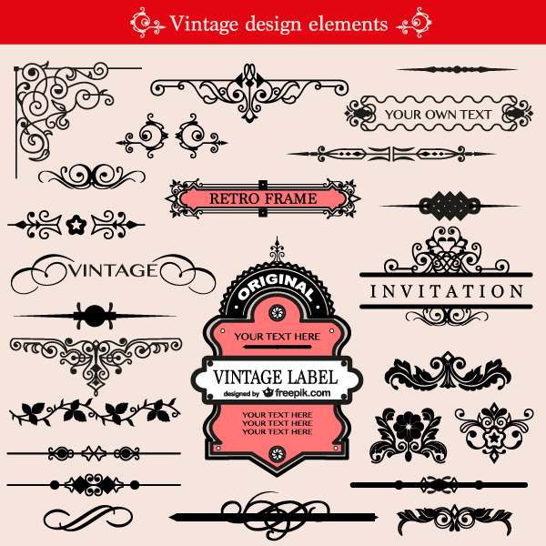 Free Download 65 Floral Decorative Ornaments Vector Pack Free Calligraphic Elements Clip Art Vintage Orn Free Vector Graphics Frame Border Design Vector Free