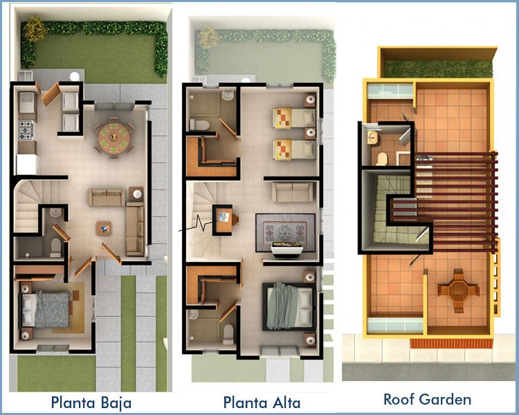 Planos casas peque as 2 pisos buscar con google casas for Planos casas chicas