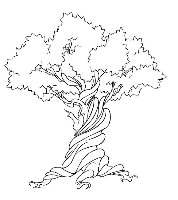Рисунок дуба раскраска