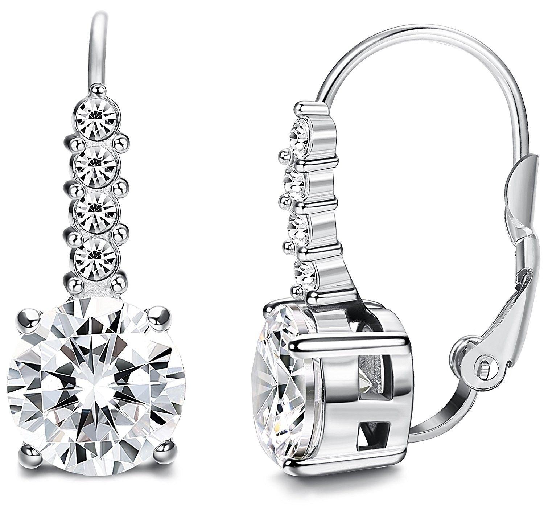 Stainless Steel Leverback Earrings for Women Drop Earrings CZ Inalid