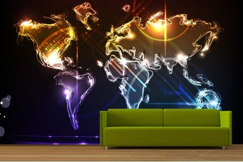 Neon world map wallpaper james bedroom pinterest wallpaper neon world map wallpaper gumiabroncs Image collections
