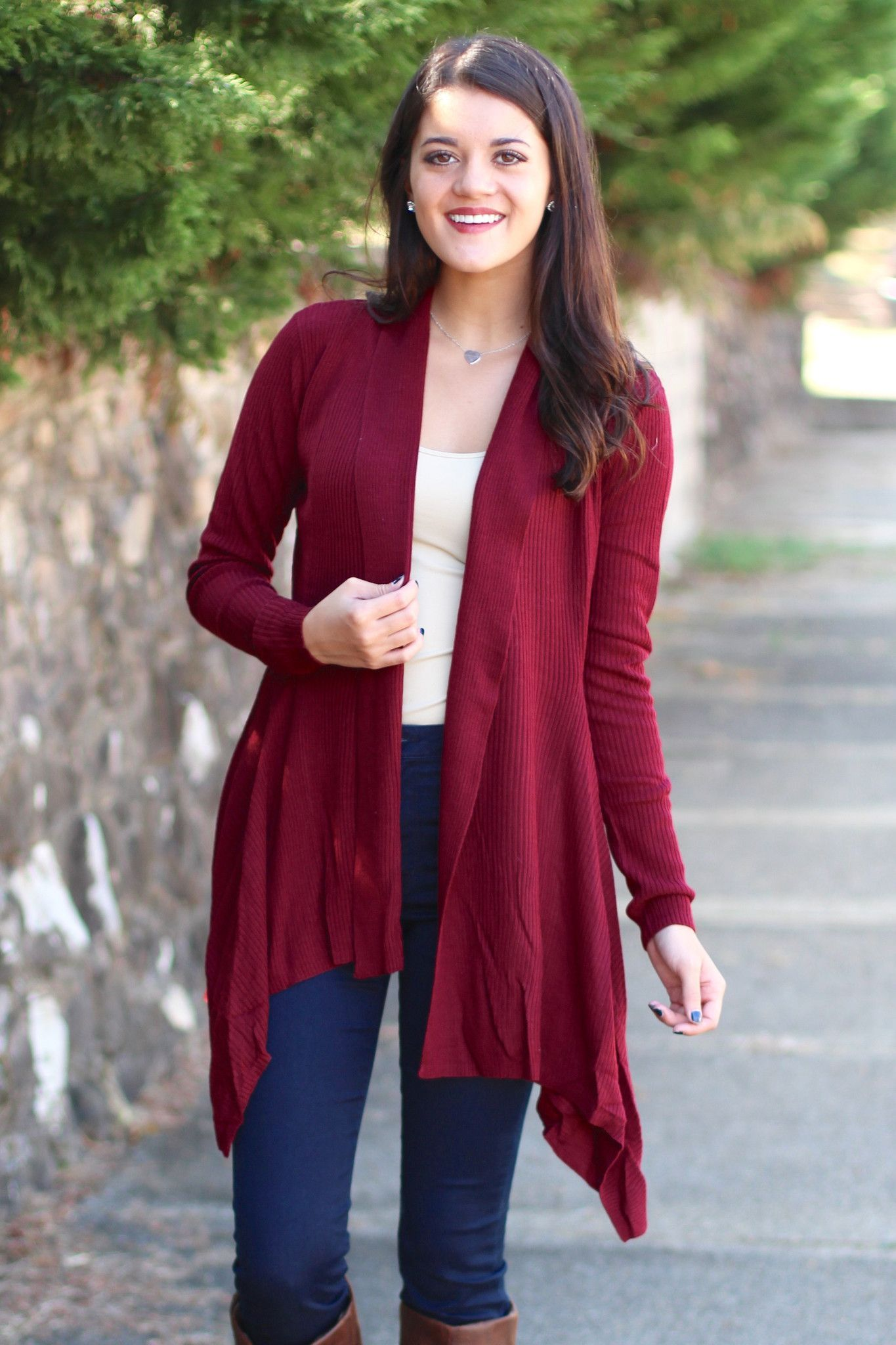 Basic, Ribbed Waterfall Cardigan {Burgundy} | WORK | Pinterest