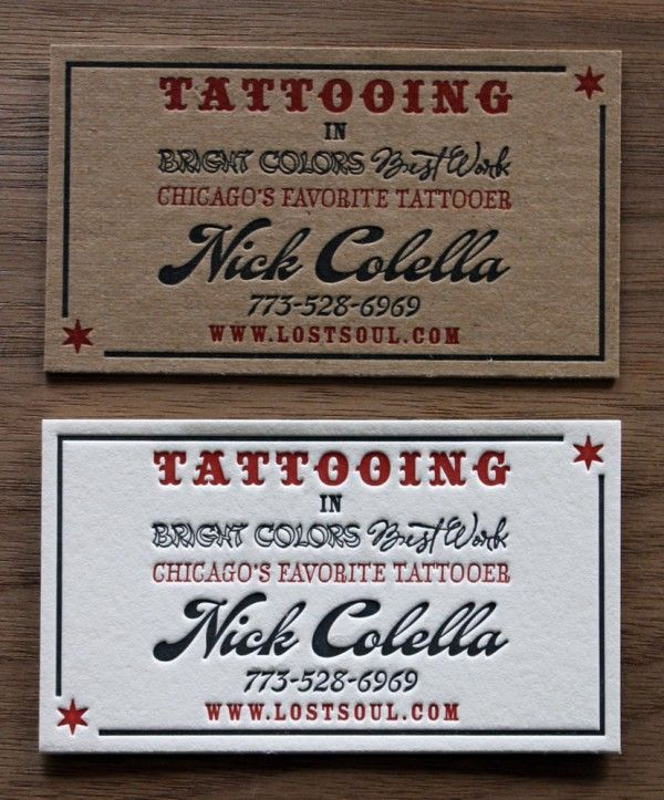 Designed and printed by paper monkey press the tattooing business tattooing chipboard business cards acceptable use of multiple fonts colourmoves
