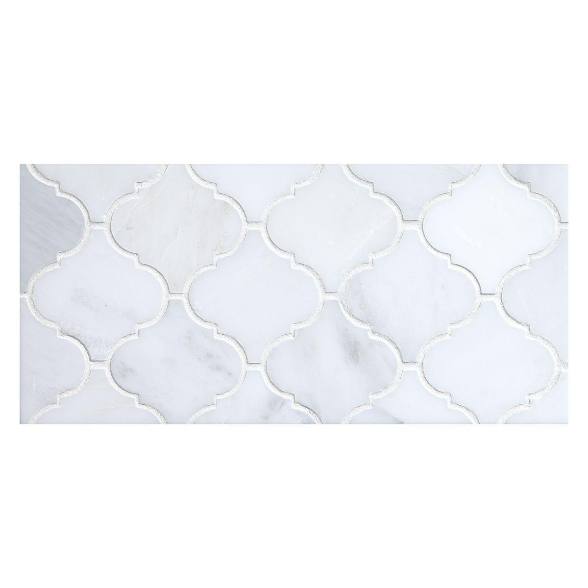 Malovi Mosaic Tile Using White Blossom Polished Marble