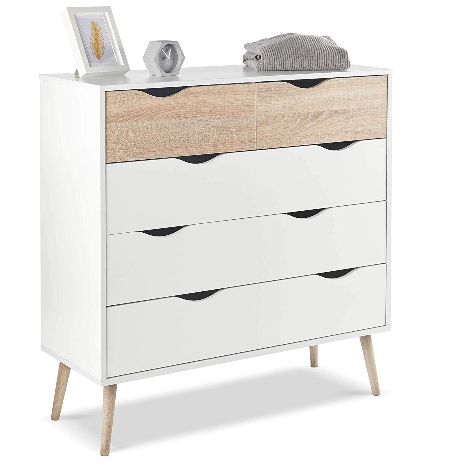 Vonhaus Chest Of Drawers Scandinavian Nordic Style White And Light Oak Effect With White Oak Furniture White Chest Of Drawers Contemporary Bedroom Furniture