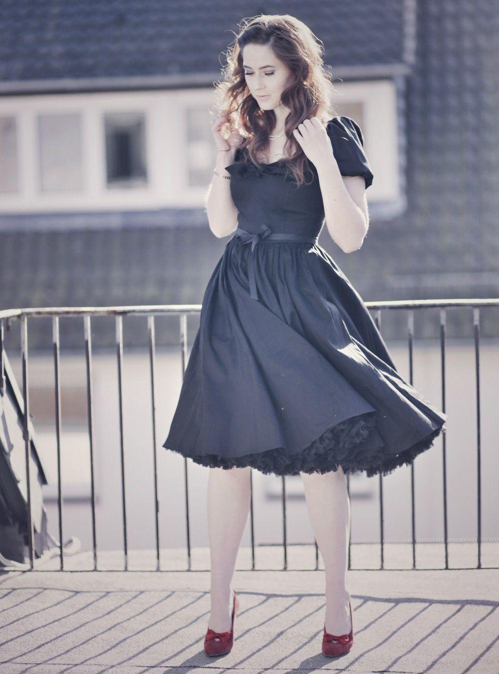 50er Jahre Petticoat Kleid, schwarzes Petticoat Kleid, Retro Kleid ...
