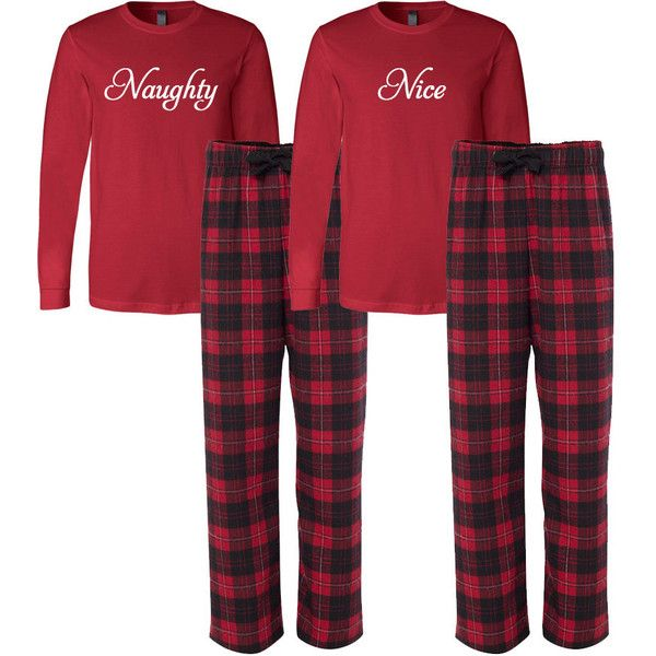 Naughty and Nice Flannel Pj Set Adult Christmas Pajamas Couple s ... bec4c4b43