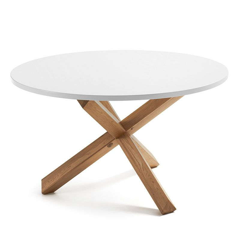 375 mesa redonda con pies de roble macizo en acabado natural y sobre de dm - Mesa Redonda Madera