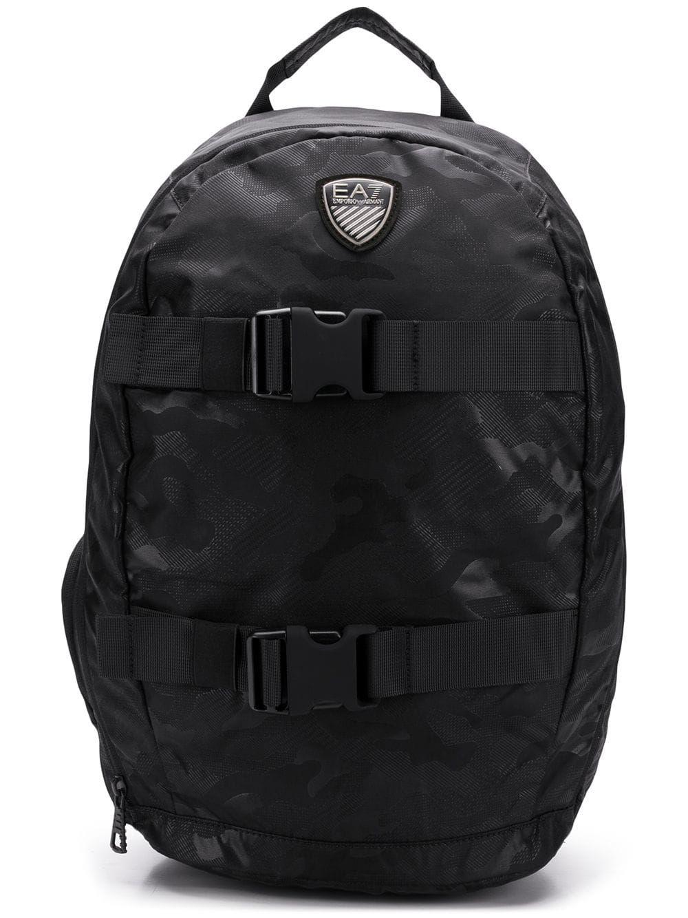 8d5fd4fcc264 EA7 EMPORIO ARMANI EA7 EMPORIO ARMANI LOGO PATCH BACKPACK - BLACK.   ea7emporioarmani  bags